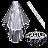 Awtlfe Kit d'accessoires de future mariée avec tiare en cristal et voile de Mariage
