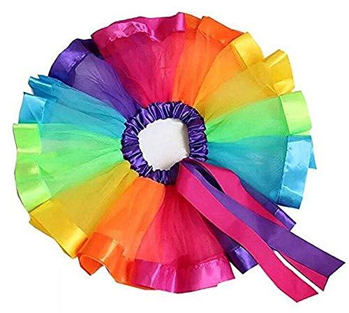 WangsCanis Mädchen Regenbogen Tutu Layered Rock Kostüm Mutter und Tochter Ruffle Tiered Dance Karneval Party Dress Kleid für Mädchen Damen (Damen/ Einheitsgröße, Stil #A) (Mama Tochter Kostüm)