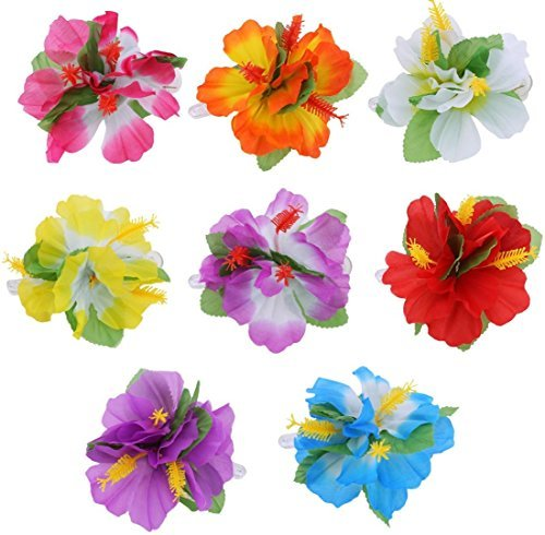4 x Hula Mädchen Hibiskus Blume Haarklammern Lei Hawaii Damen Kostüm ()