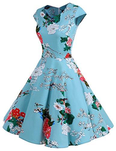 Dresstells Vintage 50er Swing Party kleider Cap Sleeves Rockabilly Retro Hepburn Cocktailkleider Floral