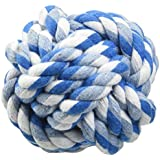 SMALLLEE_LUCKY_STORE XCW0022-M Pet Rope Ball Chew Toy For Dogs, Multicolor, Small
