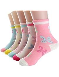 Cczmfeas Calcetines de niña Calcetines de Mariposa colorida algodón con textura gruesa 5 pares de calcetines