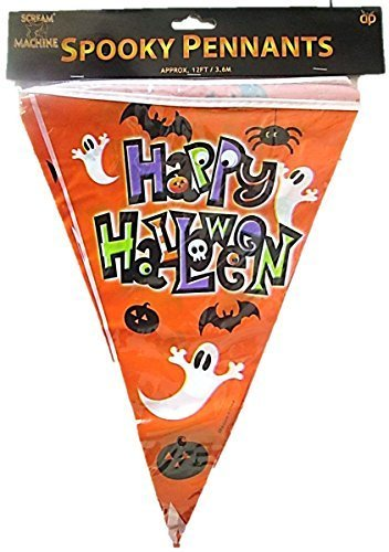 (VALUE TWIN PACK Spooky Pennants Happy Halloween Bunting Indoor/Outdoor Party Decoration Banner Total 22 Flags 24 Foot by HHBx2)