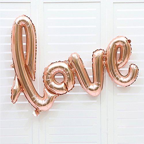 Coscelia LOVE Luftballons Folienballon Hochzeit Party Deko Buchstabeballons- Sekt - - 2