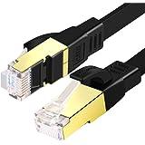 SHULIANCABLE Cable Ethernet Cat 8, Cable de Red Plano Cable de Conexión RJ45 LAN Cable 40 Gbps,2000Mhz, para Router,TV Box,PS