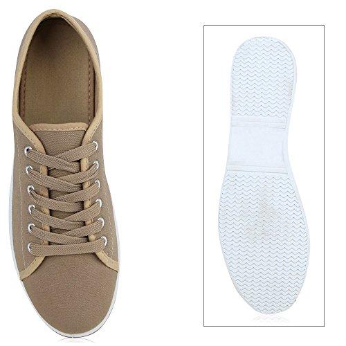 Damen Sneakers Freizeit Schuhe Schnürer Stoffschuhe Khaki