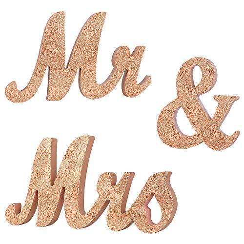 SERWOO (H: 15cm) Mr Mrs Holz Buchstaben Hochzeitsdeko Tisch Mr und Mrs Mr & Mrs Hochzeit Tischdeko Hochzeitsgeschenke Hochzeit Tischdeko Buchstaben Deko Vintage Champagner