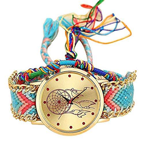 Luckiests Hand-Woven-Quarz-analoge Uhr-Frauen-ethnische Art-Damen geflochtenes Armband Handmade Armbanduhr
