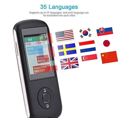 gerät 2,4-Zoll-Touchscreen-Übersetzungssupport WiFi-SIM-Karte Mehrsprachiger Echtzeitübersetzer Sprachtext 35-sprachiges Geschäftseinkaufen Übersetzer (Color : Black) ()