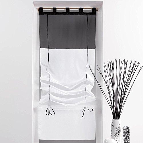 Cdaffaires rido co-tenda dritta, bicolore, colore: bianco, 60 x 180 cm, colore: nero