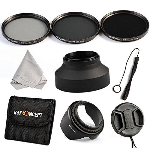 K&F Concept® ND Filter Set 62mm ND2 ND4 ND8 Filter 62mm mit Gegenlichtblende Gummi Streulichtblende Filtertasche Faser Reinigungstuch Objektivdeckel Objektivkappenhalter