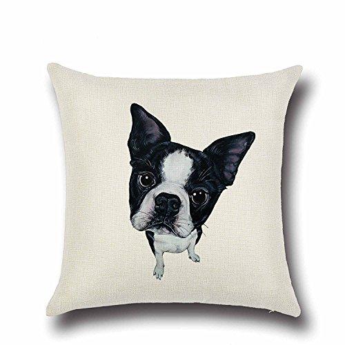 Schwarz Weiß Boston Terrier Muster 45,7x 45,7cm Überwurf Kissenbezug Standard größe für Home Deko atmungsaktiv Baumwolle Leinen Quadratisch Kissen Bezüge Kissenbezüge (Bank-kissen-ersatz)
