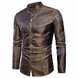 Rawdah Tencel Chemise à Manches Longues Mode Oblique Shirt Patte de Boutonnage Impression Slim à Manches Longues Occasionnels Shirts Bouton Formelle Imprimé Casual Top Pour Hommes (XXXL, C-Or)