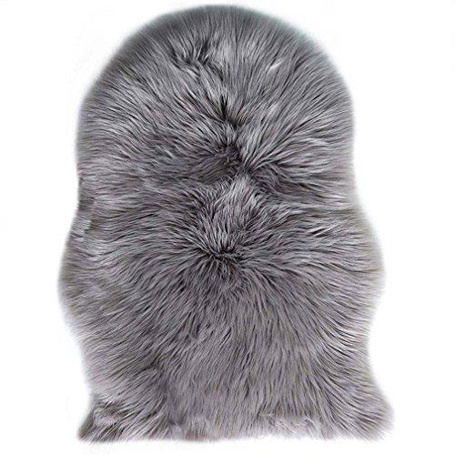 Spitzenqualität Lammfellimitat Teppich, 60 x 90 cm Lammfellimitat Teppich Longhair Fell Nachahmung Wolle Bettvorleger Sofa Matte (Grau)