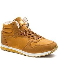 Gaatpot Zapatos Invierno Botas Forradas de Nieve Zapatillas Sneaker Botines Planas para Hombres Adulto Unisex Rojo EU 38 / CN 39