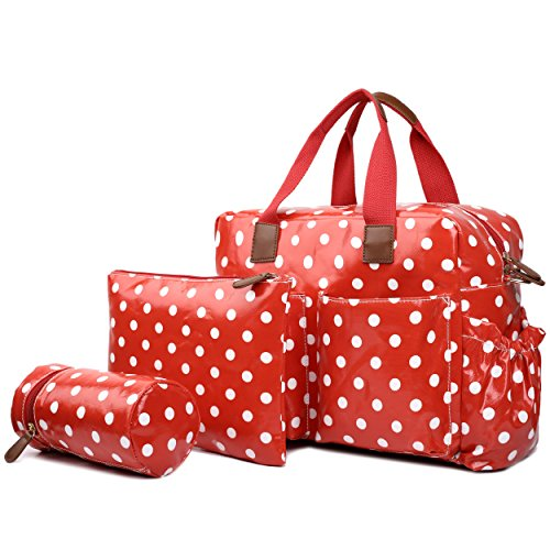 Miss Lulu Wickeltaschen-Set aus Wachstuch mit gepunktetem Muster, 4-teilig -