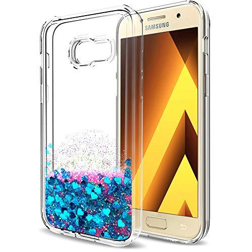 LeYi Compatible with Handyhülle Samsung Galaxy A5 2017 Glitzer Hülle,LeYi Flüssig Treibsand TPU Bumper Silikon Smartphone Handy Hüllen mit HD-Schutzfolie für Galaxy A5 2017 Case Cover ZX Blue