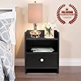 One Drawer Bedside Table, Wooden Side Table / Nightstand, Black