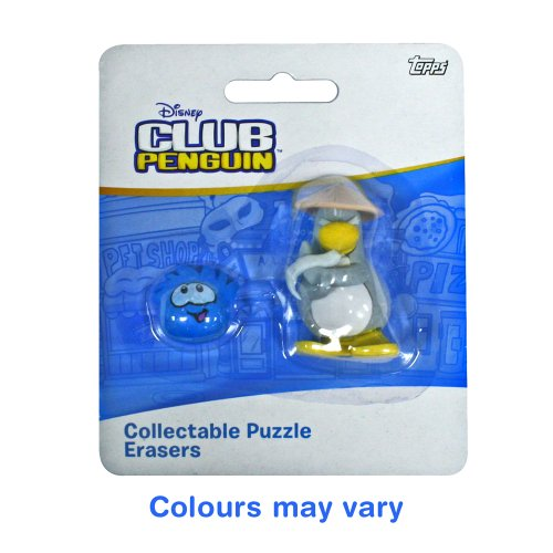 Club Penguin Collectable Puzzle Erasers  iwako  - Sensei and Puffle  Colour may vary