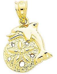 b2b5711fe569 CKL International - Colgante de delfín de Oro Amarillo de 14 Quilates con  diseño de pequeño