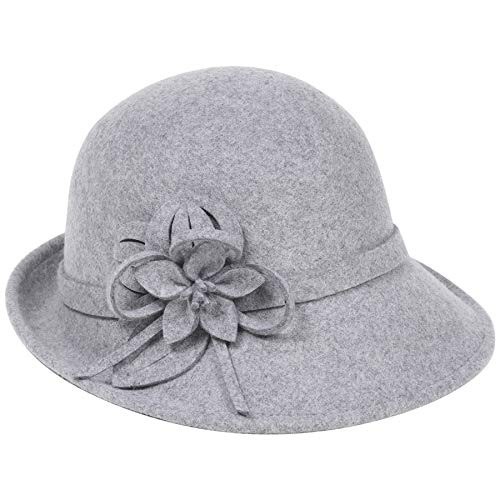(Coucoland Cloche Bucket Hut Damen Wollfilz Retro 1920s Hut Damen Filzhut Blumen Kirche Melone Hut Fedora Klassisch Bowler Hut (Grau))