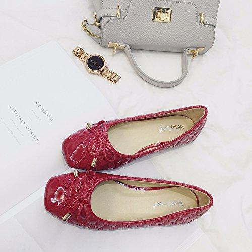 WYMBS femmes chaussures plates occasionnels chaussures de travail confortables talons plats Red