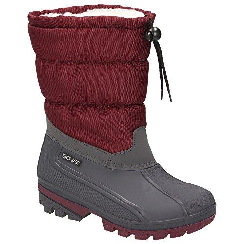 BOWS Liv- Damen Mädchen Jungen Winter Stiefel Schnee Schuhe Snow Boots Schlupfstiefel Warmfutter Wasserdicht, Schuhgröße:42, Farbe:Weinrot (Winter-schnee-stiefel)