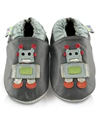 Snuggle Feet - Chaussons Bébé en Cuir Doux - Robot