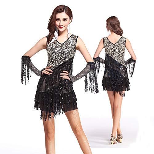 Latin Dance Kleider Fransen Gesellschaftstanz Rock Lyrische Quaste Pailletten Kleid Performance Kostüm Ärmellos Für Frauen (Color : Black, Size : One (Latin Salsa Tänzer Kostüm)