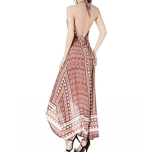 ee2d0fa1a77 ... iShine Maxikleid Damen V-Ausschnitt Neckholder Kleid Lang Sommerkleider  BOHO Rückfreies Strandkleider Partykleid Rot ...