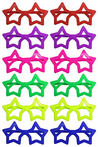 haped Shutter Shades Brille Gläser Sonnenbrille für Kostüm Party Club Tanz Props 6 Farben, 12 Paar (Star) ()