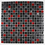 Bador Glasmosaik Mosaik Marmoriert Fliesen Mosaikfliesen Glasfliesen Glas Schwarz Rot Grau 30x30