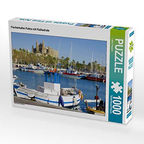 CALVENDO Puzzle Fischerhafen Palma mit Kathedrale 1000 Teile Lege-Größe 64 x 48 cm Foto-Puzzle Bild von Lothar Reupert