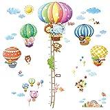 Decowall DA-1606N1406B Heißluftballon Höhentabelle Tiere Wandtattoo Wandsticker Wandaufkleber Wanddeko für Wohnzimmer Schlafzimmer Kinderzimmer