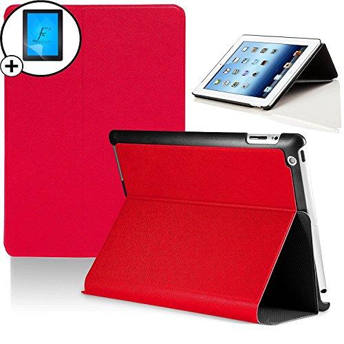 Forefront Cases® Apple iPad 2 / iPad 3 / iPad 4 Hülle Schutzhülle Tasche Smart Case Cover Stand - Ultra Dünn mit Rundum-Geräteschutz inkl. Displayschutz (ROT) (Case Ipad Smart Rot Apple 2)