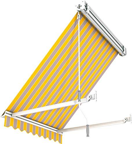 Broxsun Balkon- und Fenster Kassettenmarkise Idaho Casette, 1m bis 5m x1,4m, 120 Stoffe, Fallarmmarkise, Breite 100 bis 110cm, Länge 140cm, Motor Digital/Fernbedienung