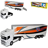 New Ray Scania R124/400 Container Weiss Orange LKW Truck 1/32 Modell Auto Modellauto