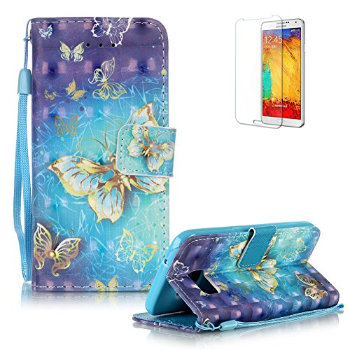 Price comparison product image For Samsung Galaxy S7 Case Cover [with Free Screen Protector],  Funyye Practical Fashionable New 3D Patterns PU Folio Leather Wallet Designer Flip Magnetic with [Wrist Strap] and [Card Holder Slot] Shock Absorber Full Body Protection Holster Case Cover Skin Shell for Samsung Galaxy S7 - Blue Gold Butterflies