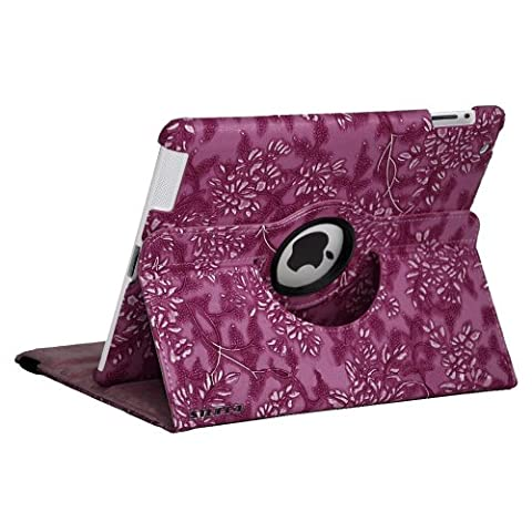 Purple Apple iPad 2-3-4 Luxury Floral Petal Smart PU Leather Case Rotating 360 Funky Cover Travel Stand with Auto Sleep-Wake | Includes Free Screen Protector & New Stylus Pen | Professional Cases and Covers with Accessories for iPad 2-3-4 by