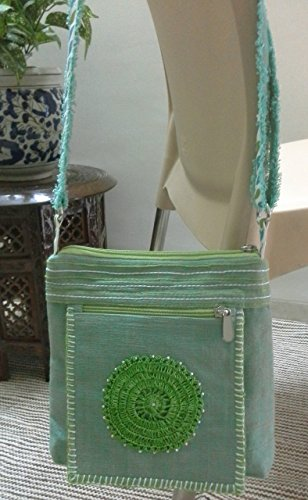 panigha-india-handmade-crossbody-slibg-bag-in-jade-green-color-with-a-decorative-crochet-patch-in-fr