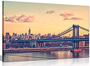 New York Manhattan Bridge Canvas Wall Art Picture Print (36x24in)