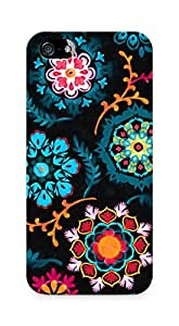 Amez designer printed 3d premium high quality back case cover for Apple iPhone 5s (Suzani inspired pattern on black)