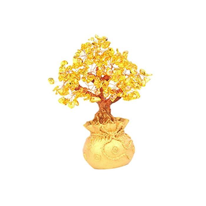 Baoblaze Feng Shui Geldbaum Kristall Glücksbaum Glücksbringer Haus Büro Tischdekoration - Gelb