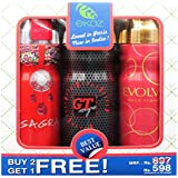 Ekoz Gagra,Gt Rouge & Evolve Femme Deodorant- 200 Ml Each( Set Of 3)