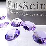 100x FUNKELNDE Diamantkristalle 12mm flieder EinsSein® Dekoration Dekosteine Diamanten FUNKELNDE Diamantkristalle Streudeko Konfetti Tischdeko Hochzeit