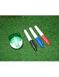 Item Name (aka Title): Multifuncional marcador de bola con 3 piezas Color diferente bolígrafo azul/rojo/negro. Multi-templates Golf Ball Line Marker, with 3 Colors Pens