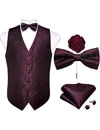 DiBanGu Chaleco de cachemira y corbata de lazo cuadrado con bolsillo y gemelos para esmoquin