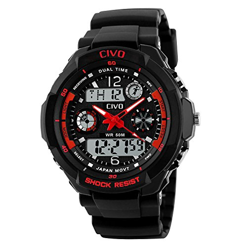 CIVO-Mens-Boys-Womens-Girls-Childrens-Simple-Design-LED-Analogue-Digital-Sport-Watch-50M-Waterproof-Business-Casual-Fashion-Luxury-Dress-Military-Wrist-Watch-Red