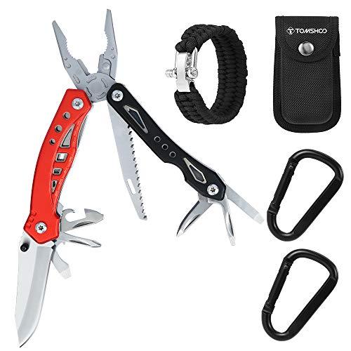 TOMSHOO Multitool Zangen Set, Außen Notfall Survival Kit, Outdoor Tools Kit 12 in 1, 2 Karabinern Clips Einstellbare urvival Armband und Aufbewahrungshülle, Selbsthilfe Camping Werkzeuge Set