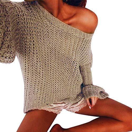 FuweiEncore Pullover Sweater Damen Sweatshirt, Bluse Winter Frauen Mode O-Neck Liebsten Sexy Solid Color Strickpullover Strickjacke T-Shirt Langarmshirts Jumper (Farbe : Khaki, Größe : Medium)